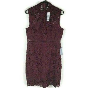 Bardot Sheath Lace Burgundy Cocktail Dress 8 (M)